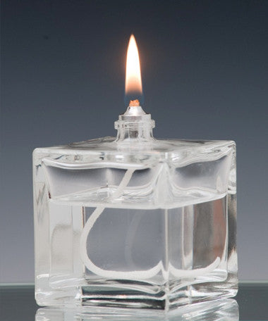 Moulded Glass Oil Candle - Cube - Box of 12