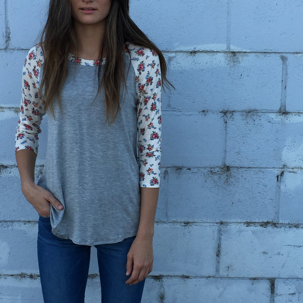 Floral Baseball Sleeve Top