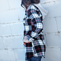 Hooded Plaid Top