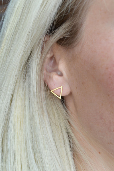 Gold Triangle Stud Earings