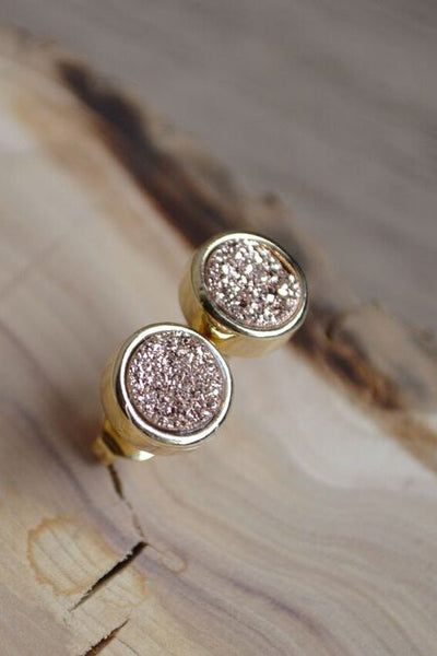 Rose Gold Druzy Stud Earings