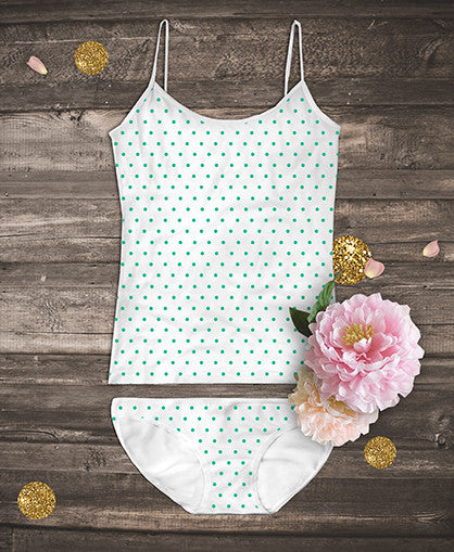 Organic Camisoles Set - Polka Green Dots