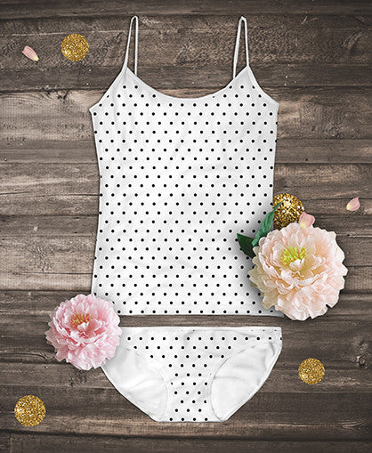 Organic Camisoles Set - Black Polka Dot