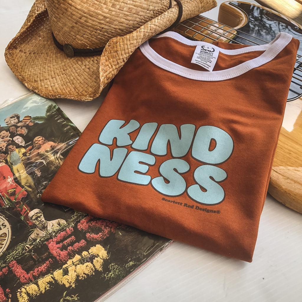 **Adult Organic KINDNESS Tee- RUST with WHITE
