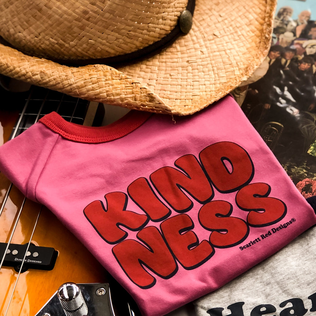 KIDS Organic KINDNESS Tee- MAGENTA with RED- ONLY SIZE 1 & 2 LEFT