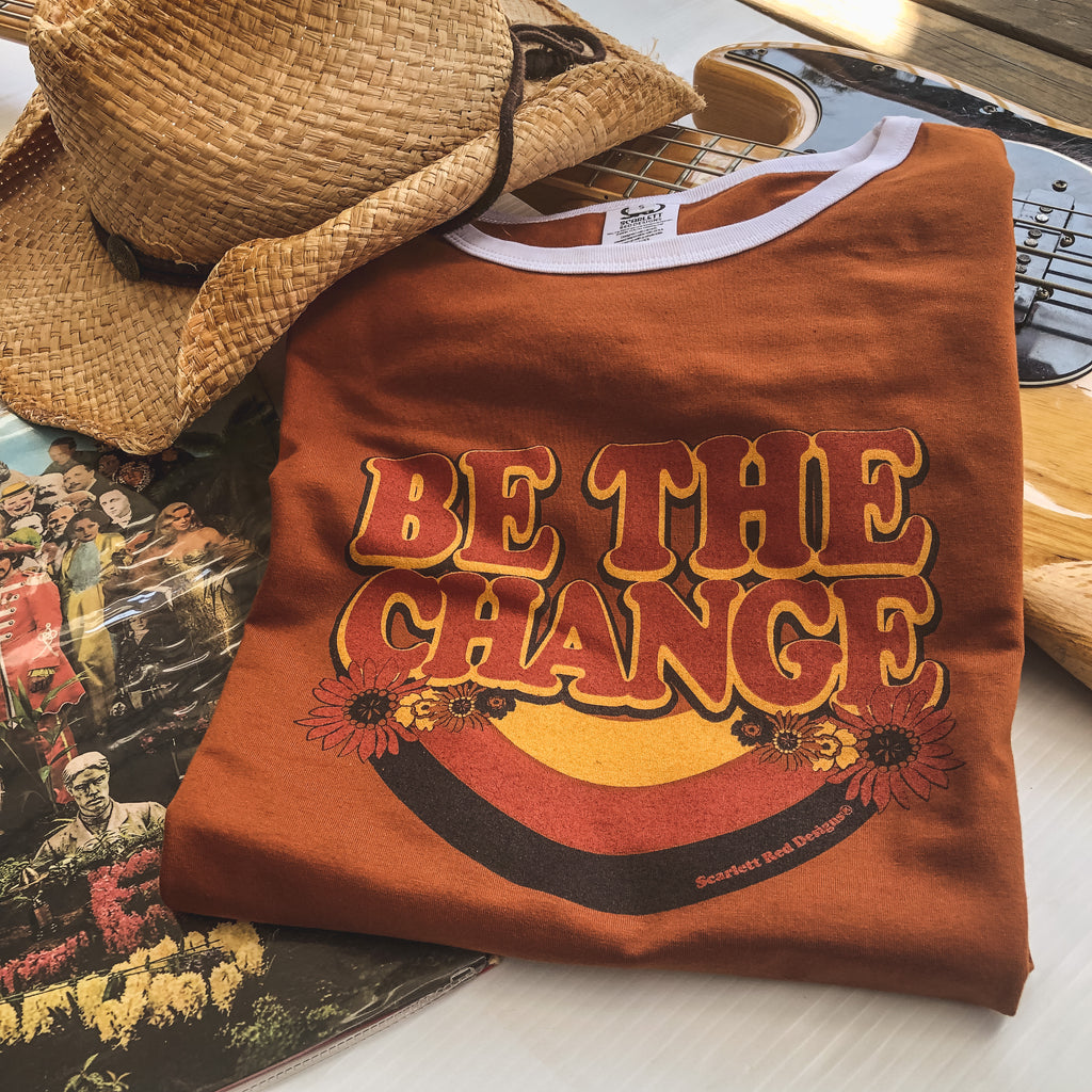 **Adult Organic BE THE CHANGE Tee- RUST with WHITE