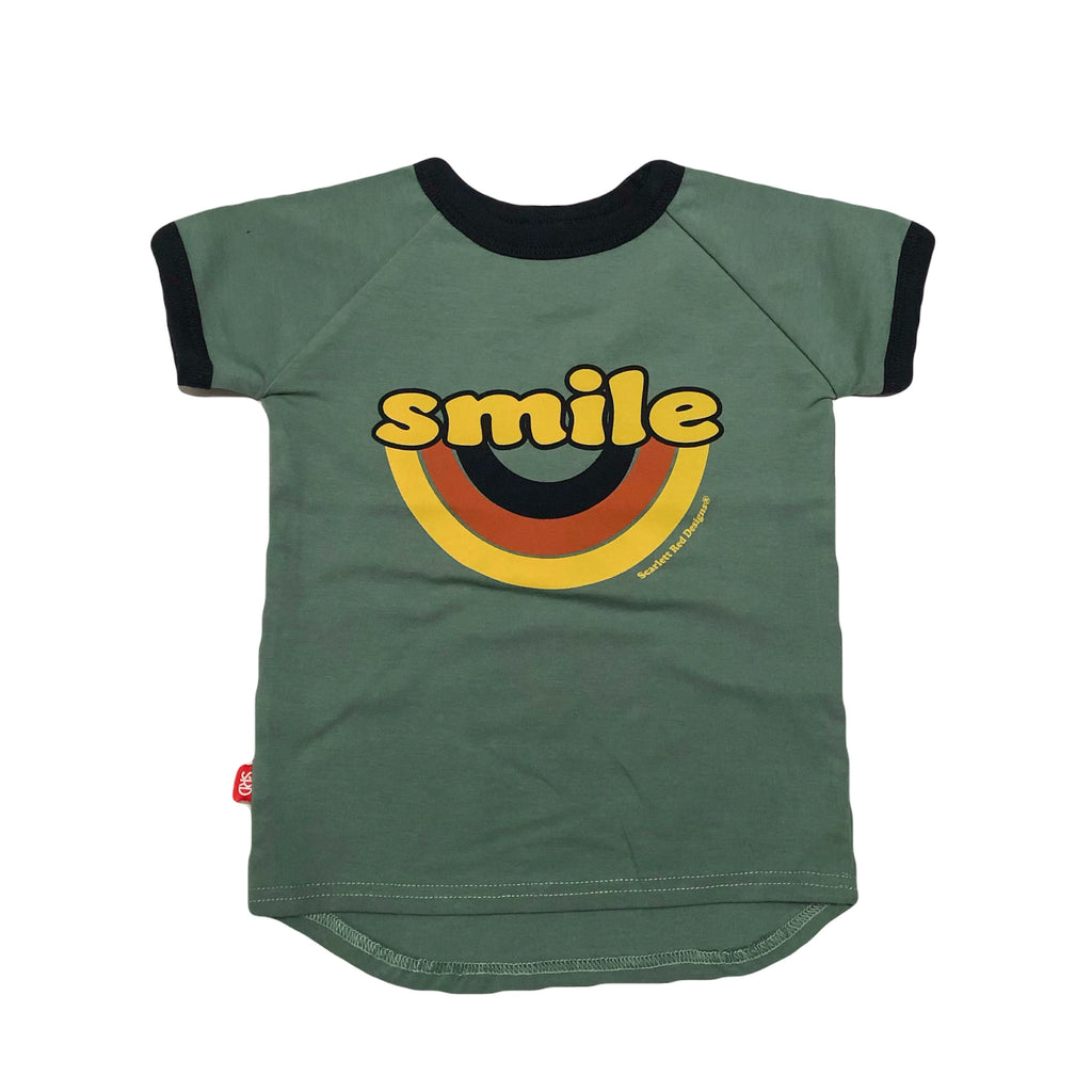 ***KIDS Organic SMILE Tee- TEAL with NAVY