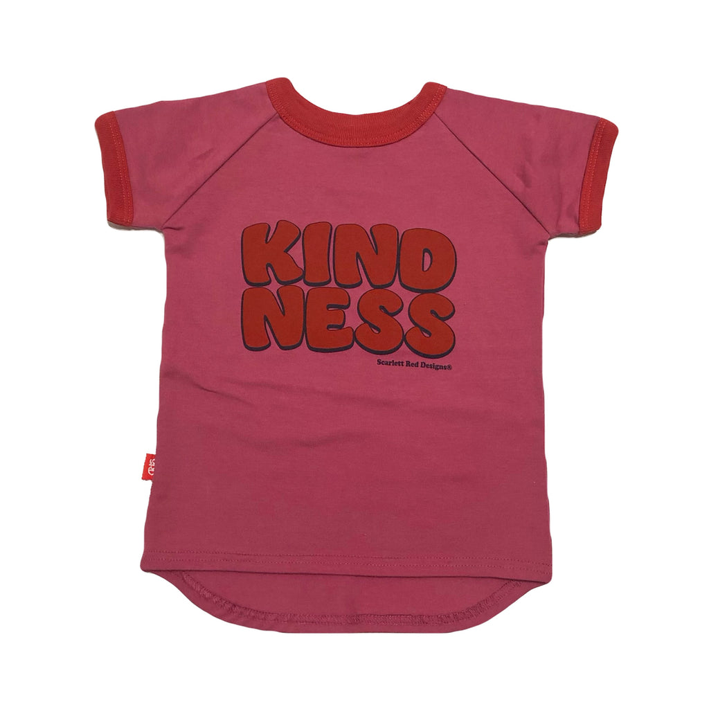 ***KIDS Organic KINDNESS Tee- PINK with RED