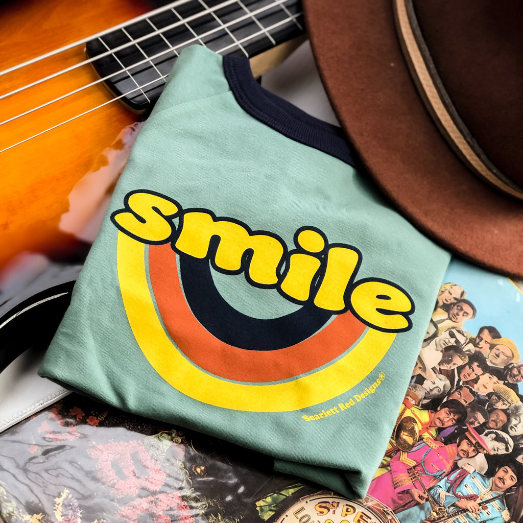 **Adult Organic SMILE Tee- TEAL with NAVY