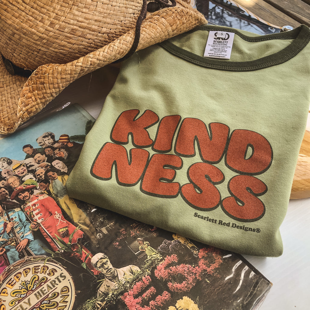**Adult Organic KINDNESS Tee- GREEN with KELP