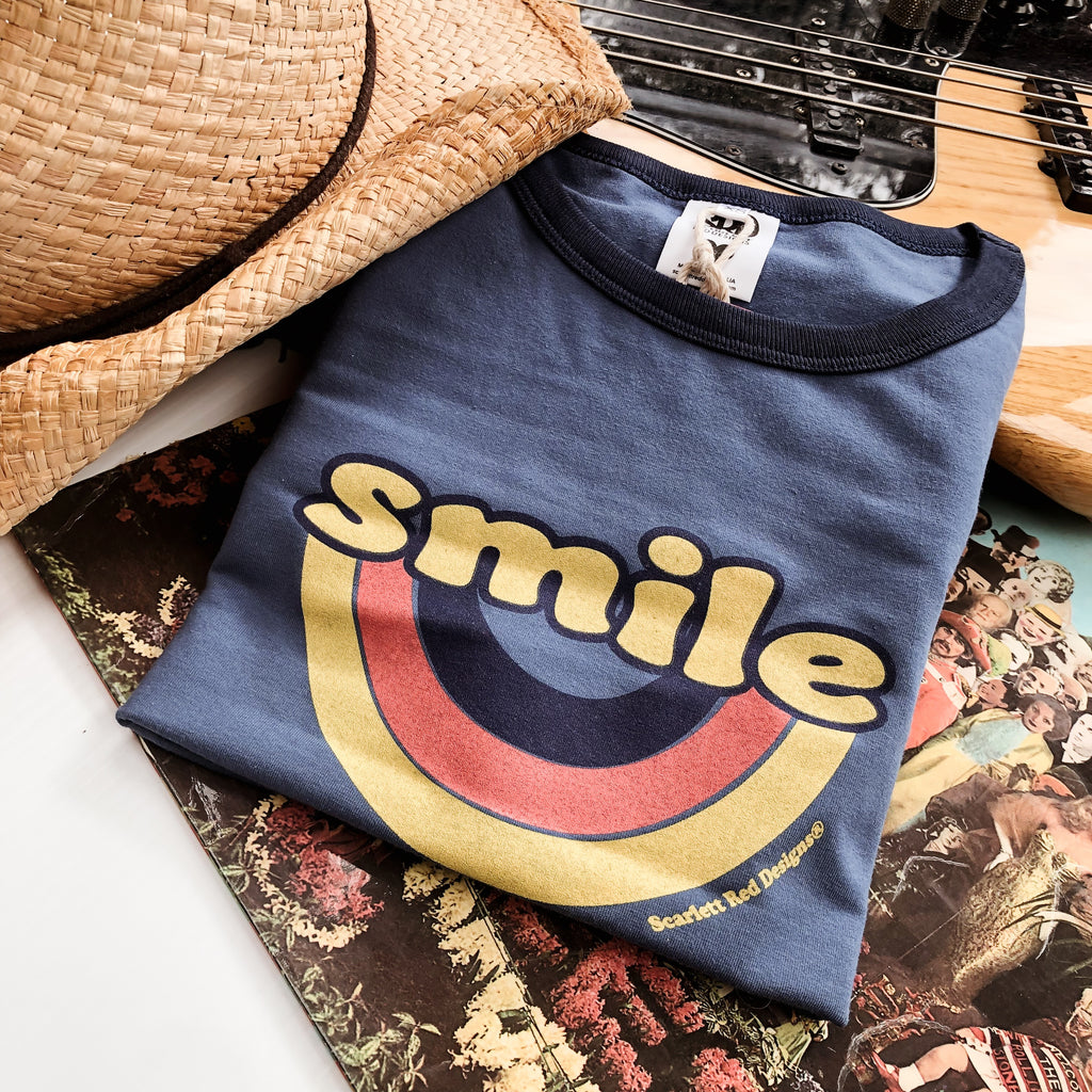 **Adult Organic SMILE Tee- BLUE