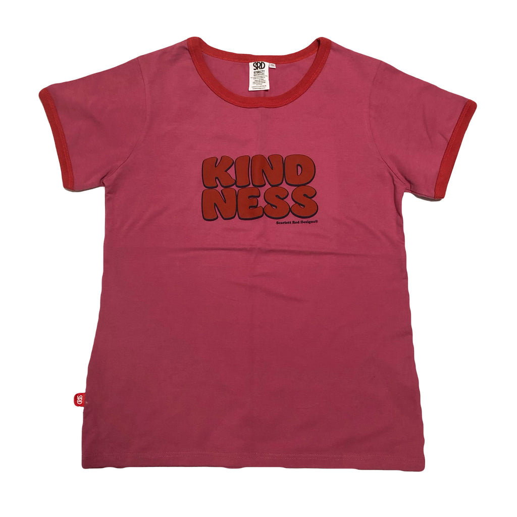 **Adult Organic KINDNESS Tee- MAGENTA with RED
