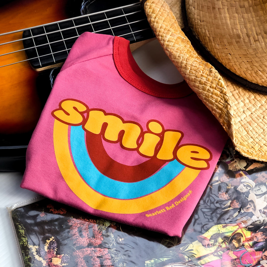 **Adult Organic SMILE Tee- MAGENTA with RED