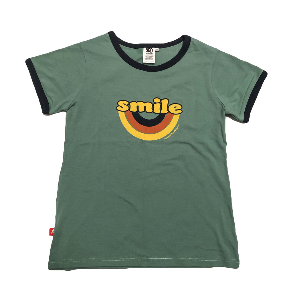 Adult Organic SMILE Tee- TEAL with NAVY