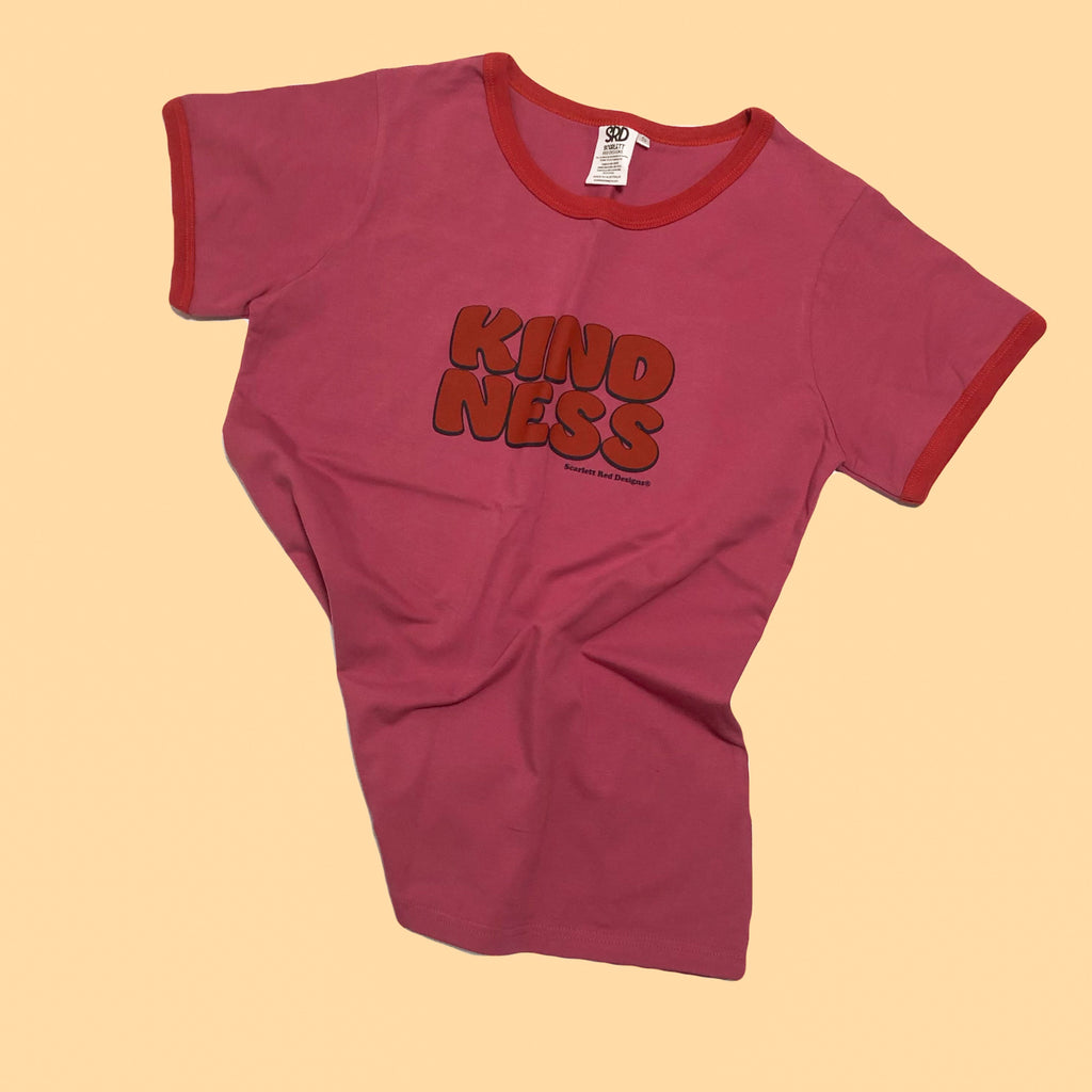 **Adult Organic KINDNESS Tee- PINK with RED