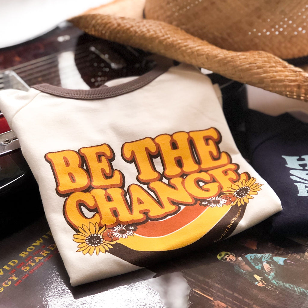 ***KIDS Organic BE THE CHANGE tee - natural/choc