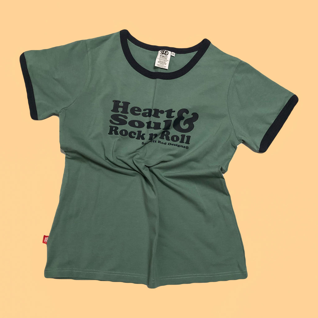 **Adult Organic HS&RNR Tee- TEAL with NAVY