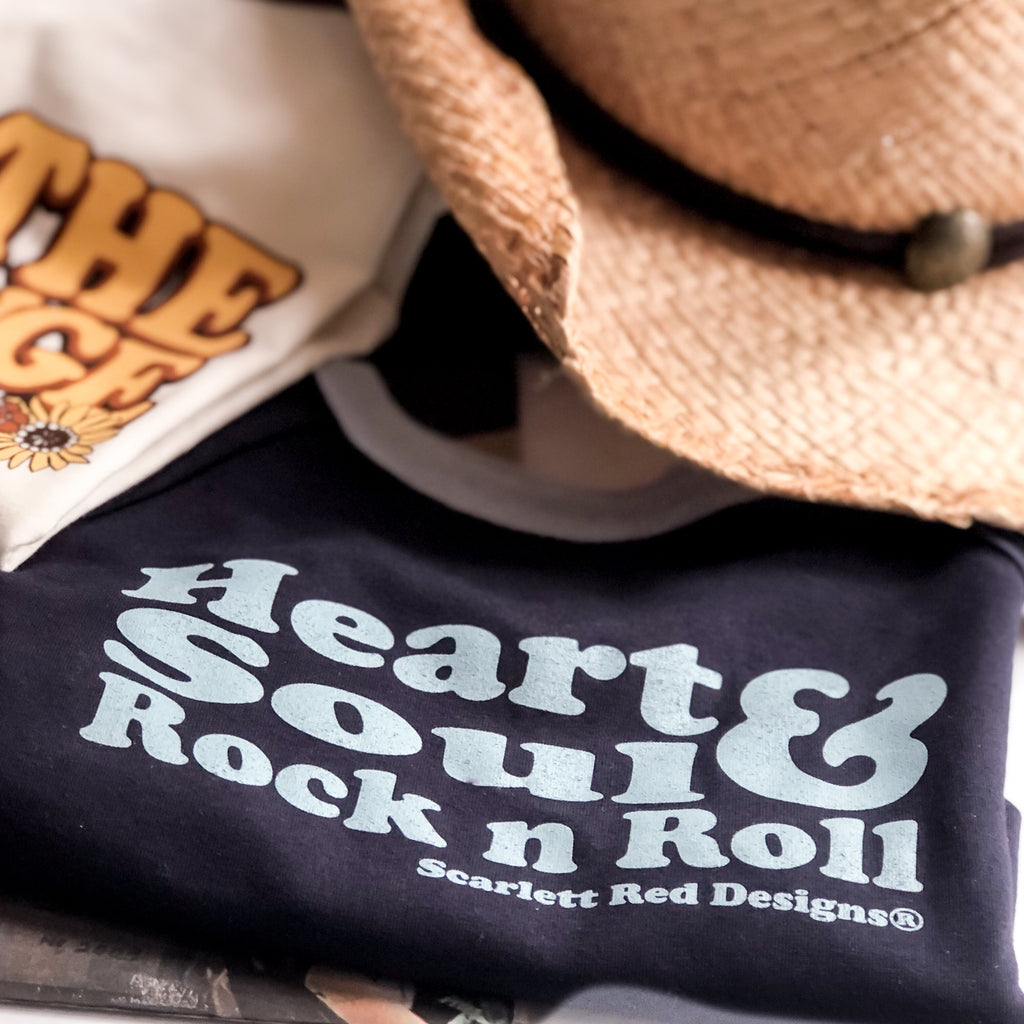 **Adult Organic HEART, SOUL & ROCK N ROLL Tee- indigo/baby blue