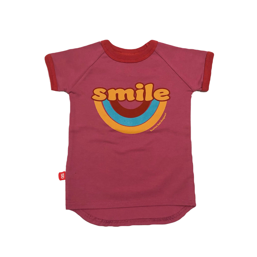 ***KIDS Organic SMILE Tee- PINK with RED