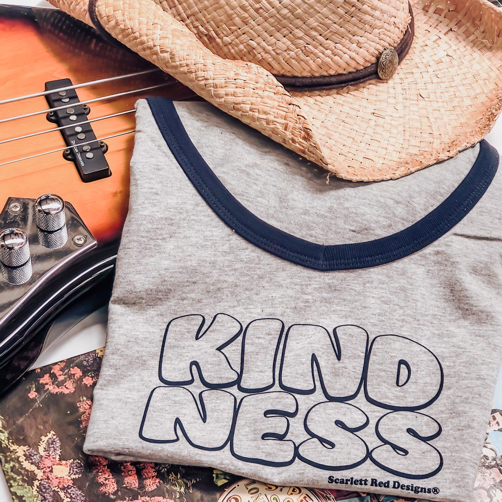 Adult Organic KINDNESS Tee- GREY with NAVY