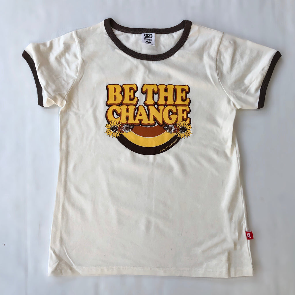 **Adult Organic BE THE CHANGE Tee- natural/ choc