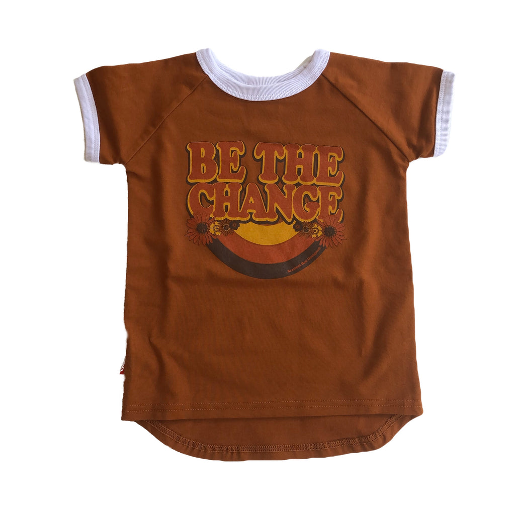 ***KIDS Organic BE THE CHANGE- RUST with WHITE- ONLY SIZE 2 LEFT