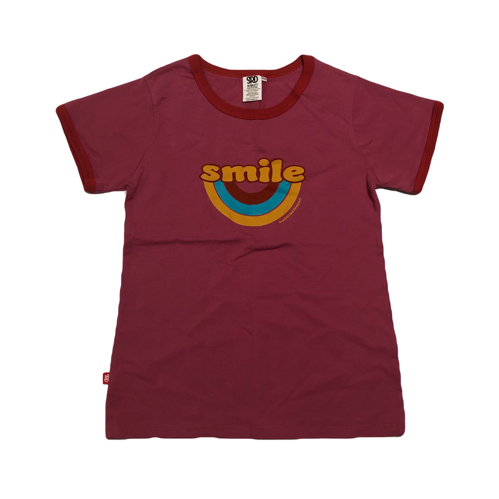 **Adult Organic SMILE Tee- PINK with RED