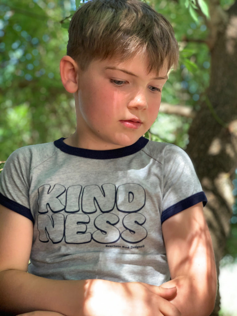 ***KIDS Organic KINDNESS Tee- GREY with NAVY