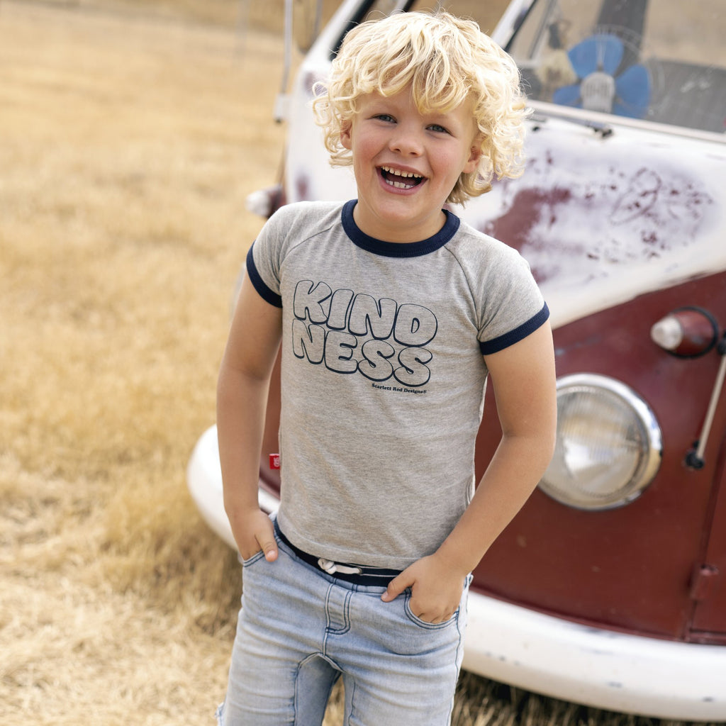 KIDS Organic KINDNESS Tee- GREY with NAVY