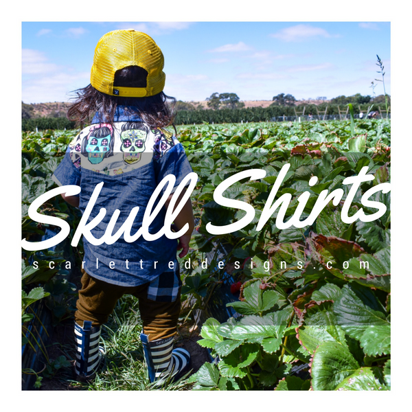 Skull Chambray Shirt- Scarlett Red Designs