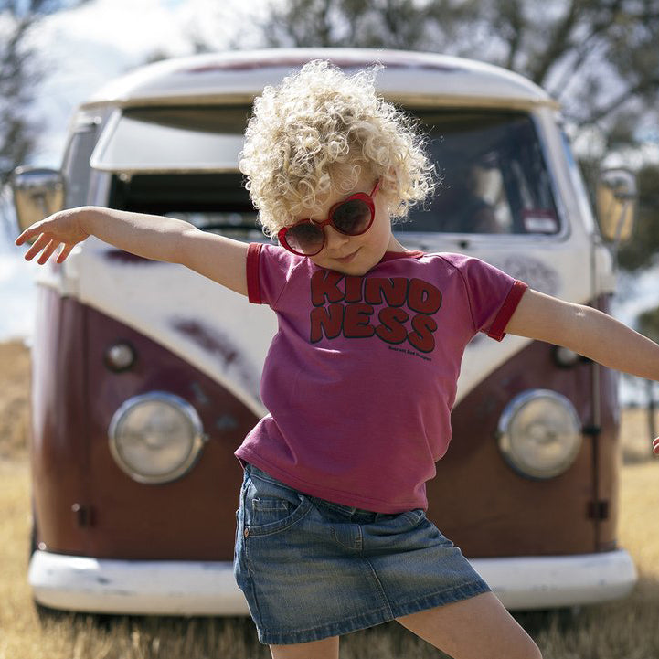 ***KIDS Organic KINDNESS Tee- MAGENTA with RED