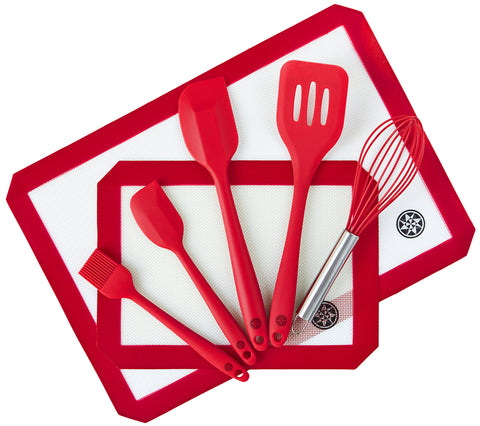 Silicone Baking Mat and Utensils Set (7 Piece)