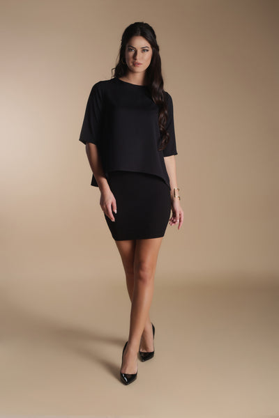 Loose Crepe Top-Black
