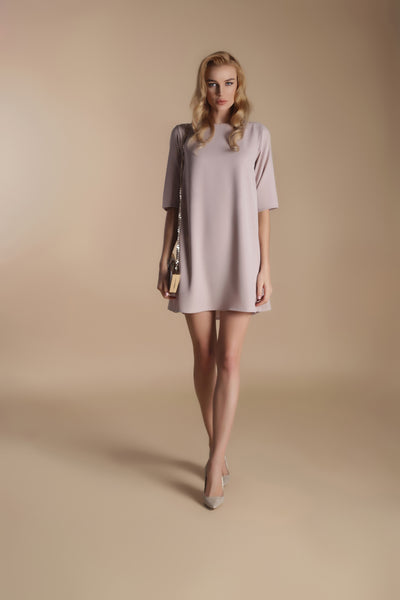 Crepe Mini Dress-Champagne