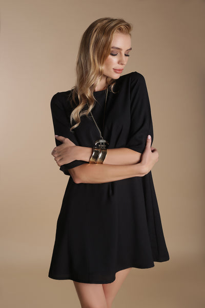 Crepe Mini Dress-Black