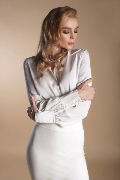 Collared Silk Shirt-Ivory