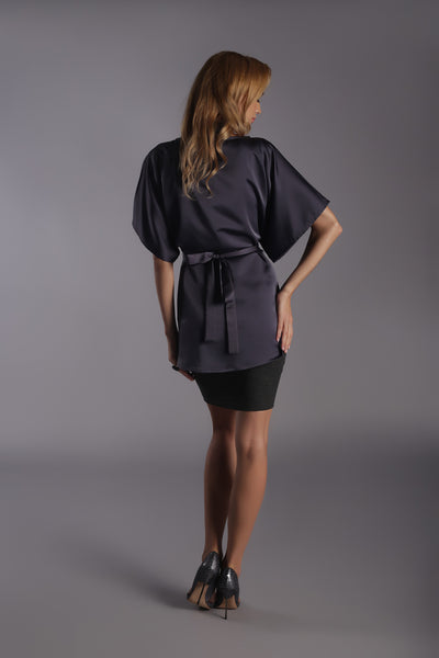 High Waisted Mini Skirt-Dark Grey Melange