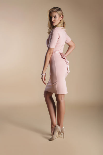 Scoop Neck Fitted Con Dress-Venetian Pink