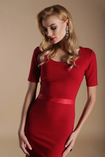 Scoop Neck Fitted Con Dress-Scarlet Red