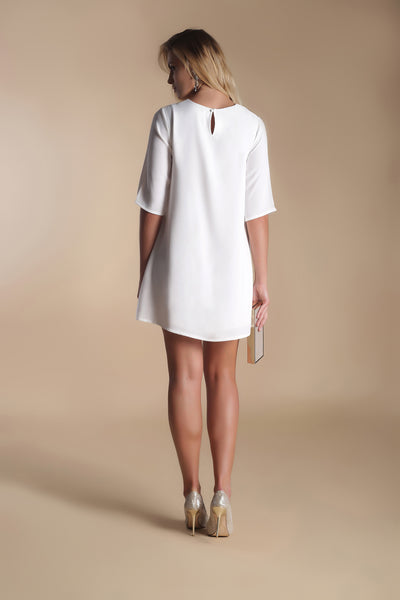 Crepe Mini Dress-Ivory