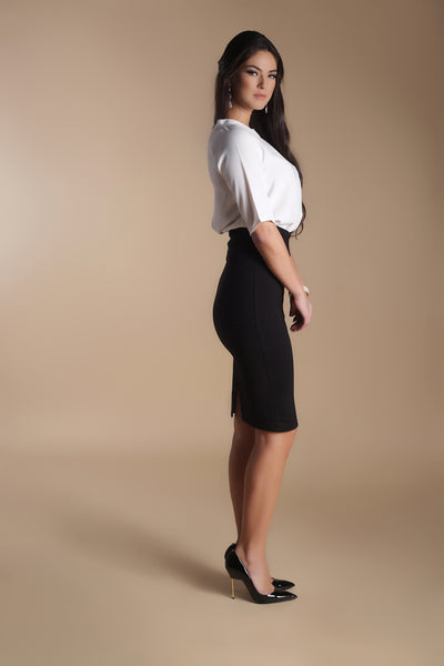 High Waisted Pencil Skirt-Black