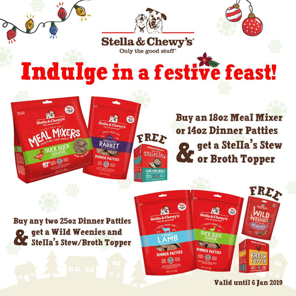 Stella & Chewys Meal Mixer & 14oz Patty Promo for Christmas 2018