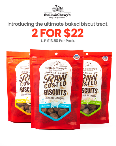 Stella & Chewy's Raw Coated Biscuits Promo
