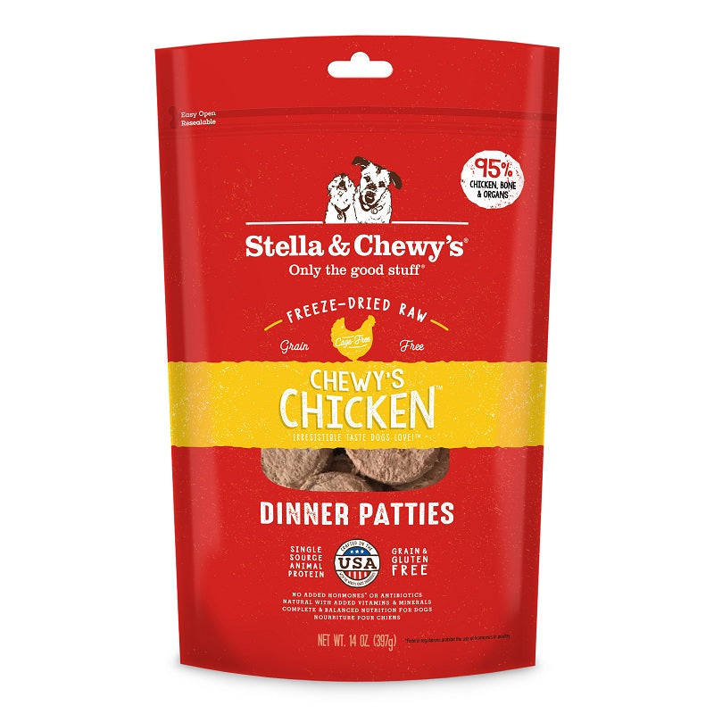 Stella & Chewy's Chicken Freeze-Dried Dinner Patties For Dogs, 14oz | Singpet.Com