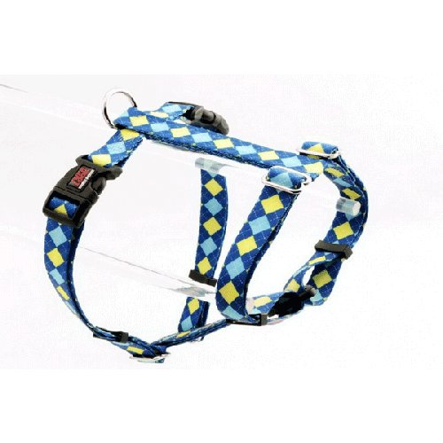 Tuff Lock Figure-H Dog Harness (Argyle Blue) | Singpet.Com