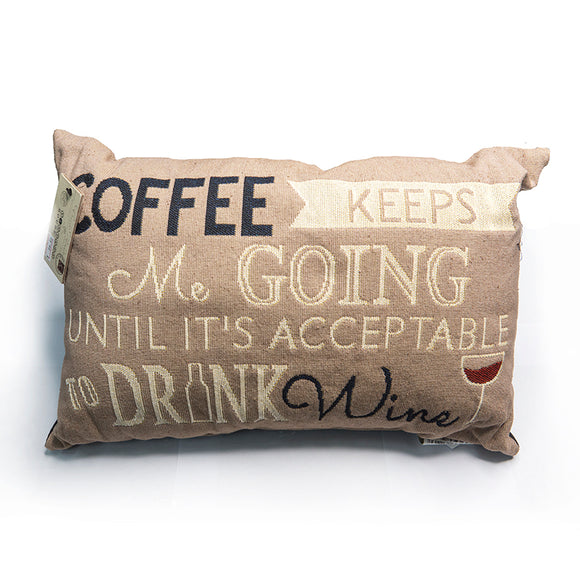 Park B. Smith Vintage House Pillow, Coffee Keeps me Going.. Pattern