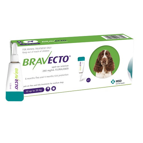 Bravecto Spot-On 500mg for Medium Dogs >10–20 kg (22-44 lbs) | Singpet.Com.Sg
