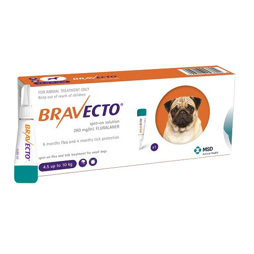 Bravecto Spot-On 250mg for small dogs >4.5–10 kg (9-22 lbs) | Singpet.Com.Sg