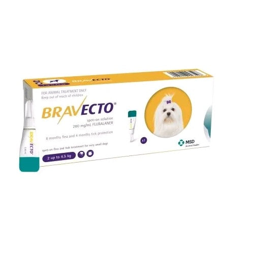 Bravecto Spot-On 112.5mg for extra small dogs 2-4.5 kg (4.4-10 lbs) | Singpet.Com