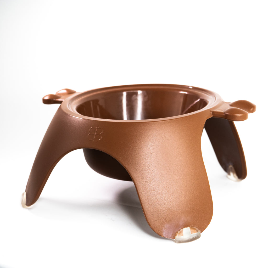 Petego Yoga Food & Water Bowl For Dogs & Cats, (Brown)